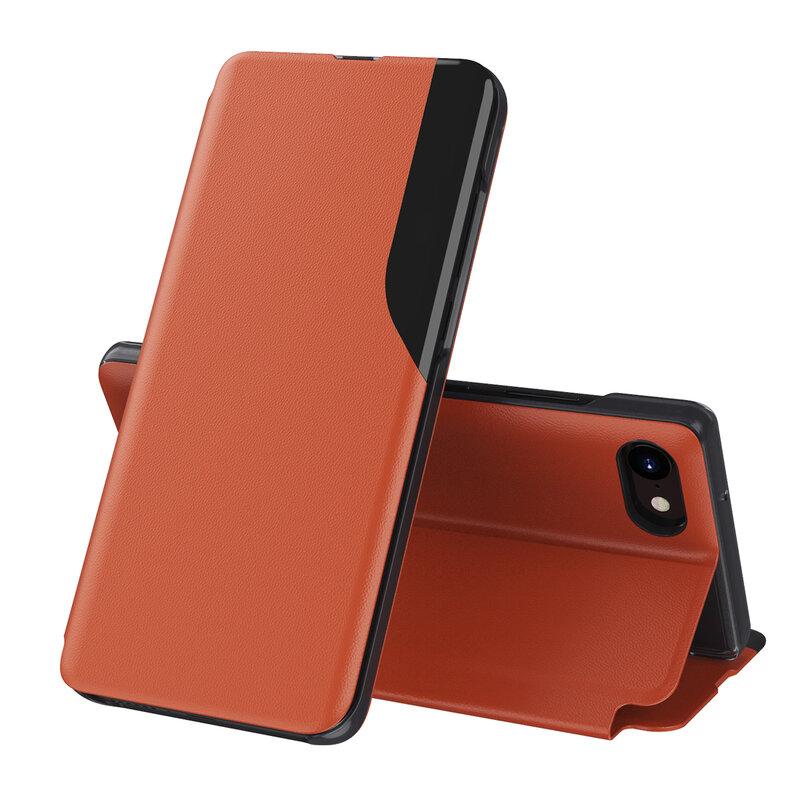 Husa iPhone 7 Eco Leather View Flip Tip Carte - Portocaliu