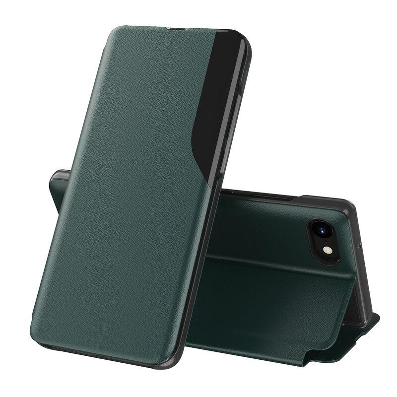 Husa iPhone SE 2, SE 2020 Eco Leather View Flip Tip Carte - Verde