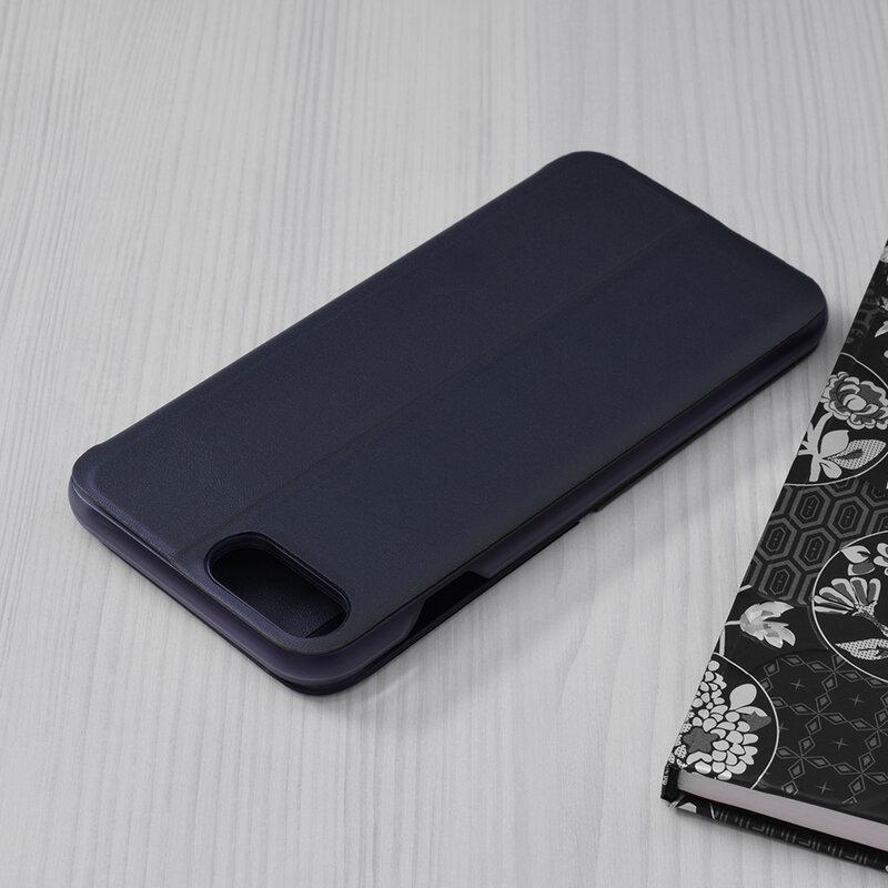 Husa iPhone 8 Plus Eco Leather View Flip Tip Carte - Albastru
