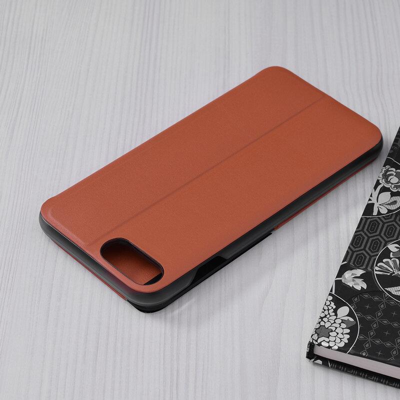 Husa iPhone 7 Plus Eco Leather View Flip Tip Carte - Portocaliu