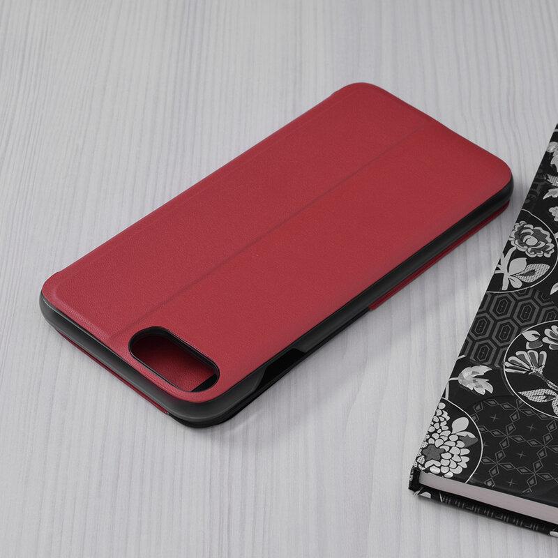 Husa iPhone 7 Plus Eco Leather View Flip Tip Carte - Rosu