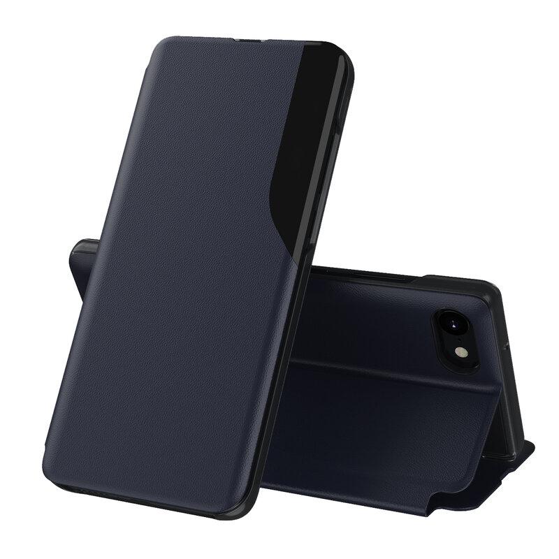 Husa iPhone SE 2, SE 2020 Eco Leather View Flip Tip Carte - Albastru