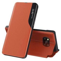 Husa Xiaomi Poco X3 NFC Eco Leather View Flip Tip Carte - Portocaliu