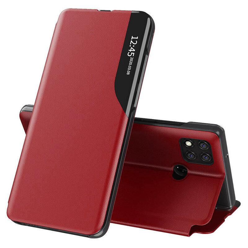 Husa Xiaomi Redmi 9C Eco Leather View Flip Tip Carte - Rosu
