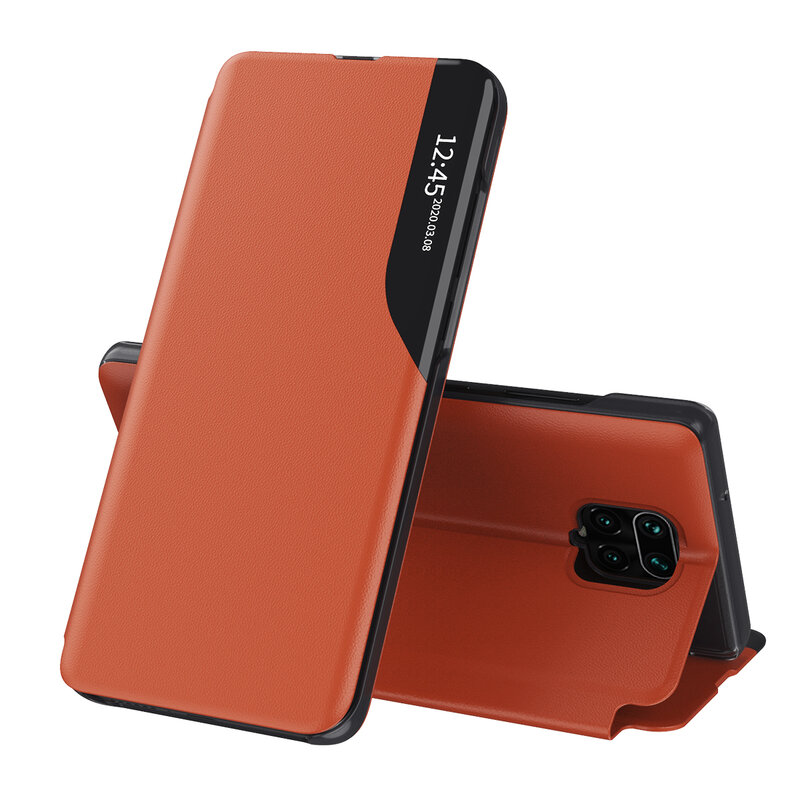 Husa Xiaomi Redmi Note 9 Pro Eco Leather View Flip Tip Carte - Portocaliu