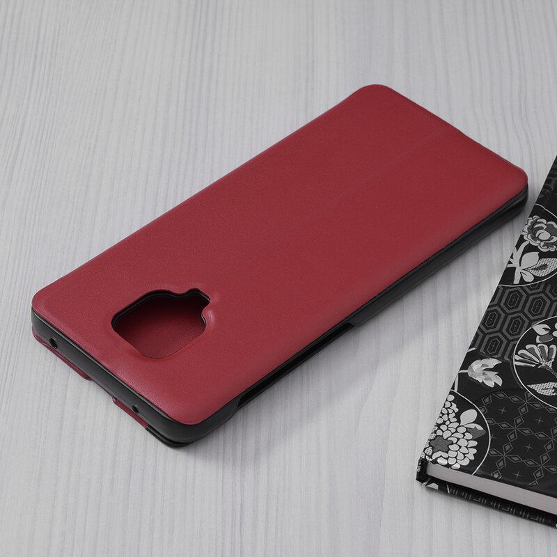 Husa Xiaomi Redmi Note 9 Pro Eco Leather View Flip Tip Carte - Rosu