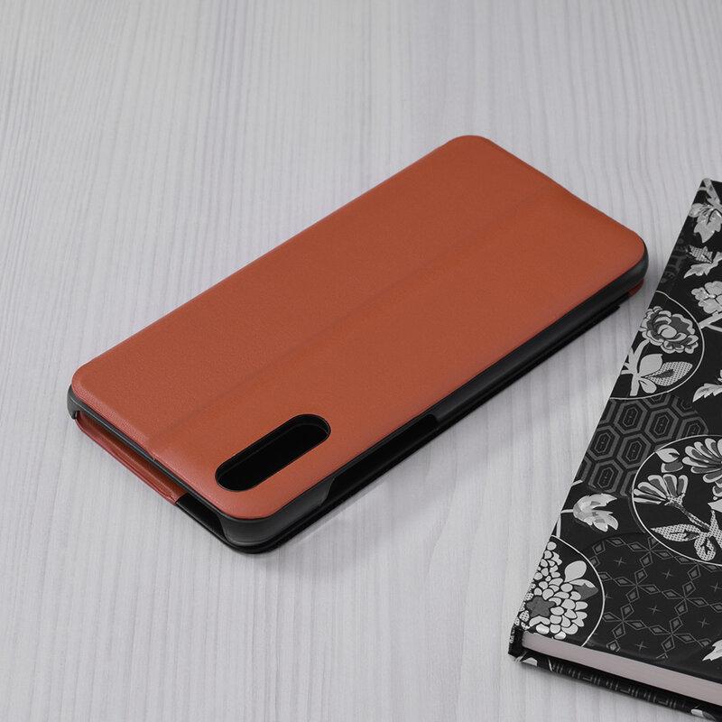 Husa Huawei P20 Eco Leather View Flip Tip Carte - Portocaliu