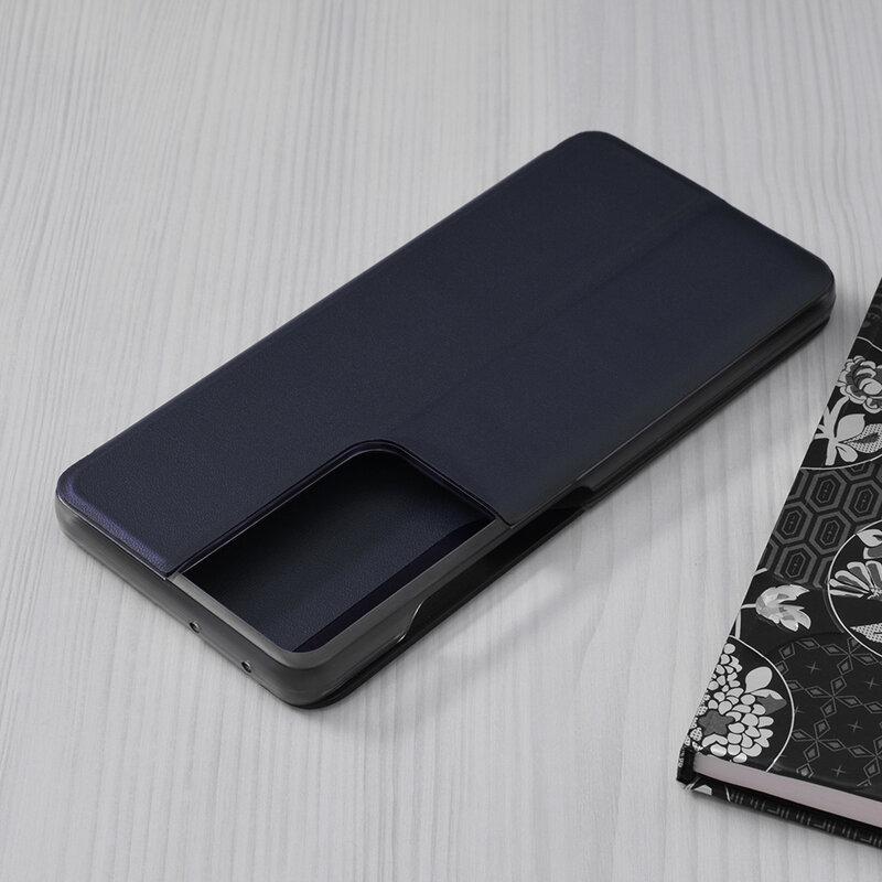 Husa Samsung Galaxy S21 Ultra 5G Eco Leather View Flip Tip Carte - Albastru