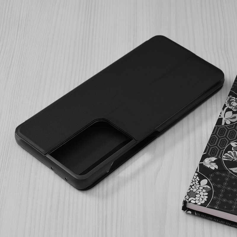 Husa Samsung Galaxy S21 Ultra 5G Eco Leather View Flip Tip Carte - Negru