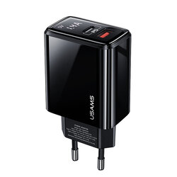 Incarcator priza USAMS T40, USB QC3.0 + Type-C PD 20W, display LED, negru
