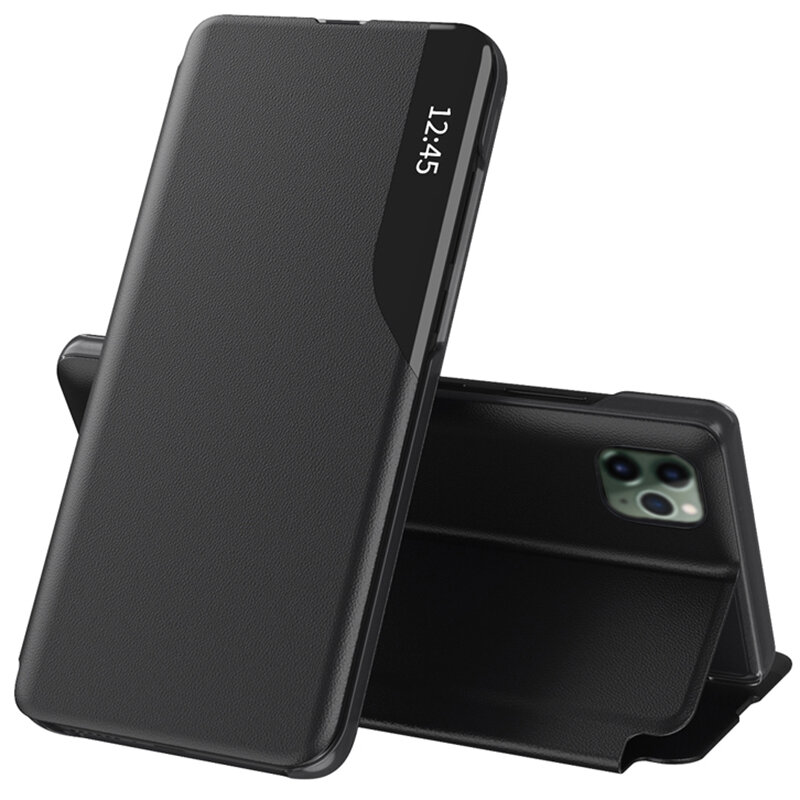 Husa iPhone 11 Pro Max Eco Leather View Flip Tip Carte - Negru