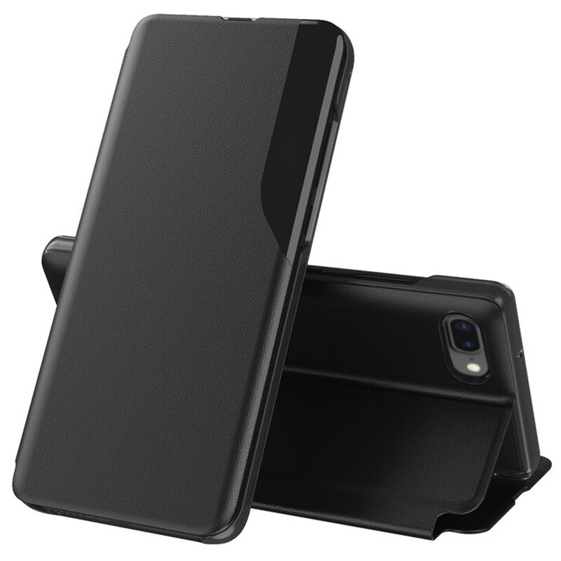 Husa iPhone 8 Plus Eco Leather View Flip Tip Carte - Negru