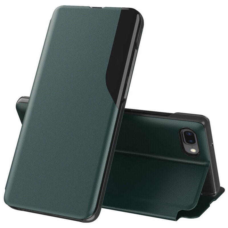 Husa iPhone 8 Plus Eco Leather View Flip Tip Carte - Verde