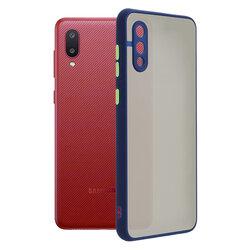 Husa Samsung Galaxy M02 Mobster Chroma Cu Butoane Si Margini Colorate - Albastru