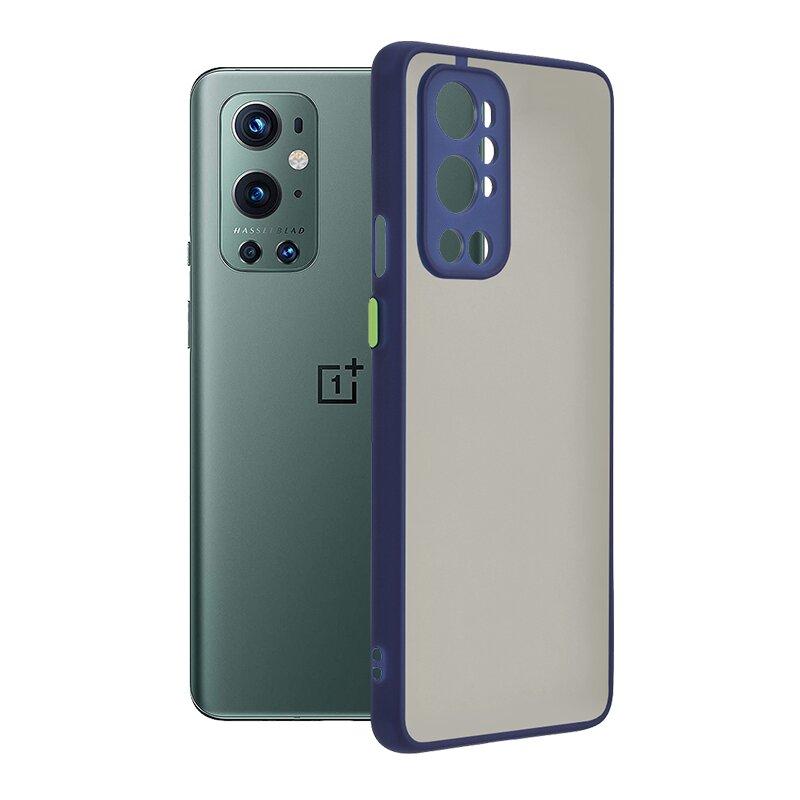 Husa OnePlus 9 Pro Mobster Chroma Cu Butoane Si Margini Colorate - Albastru