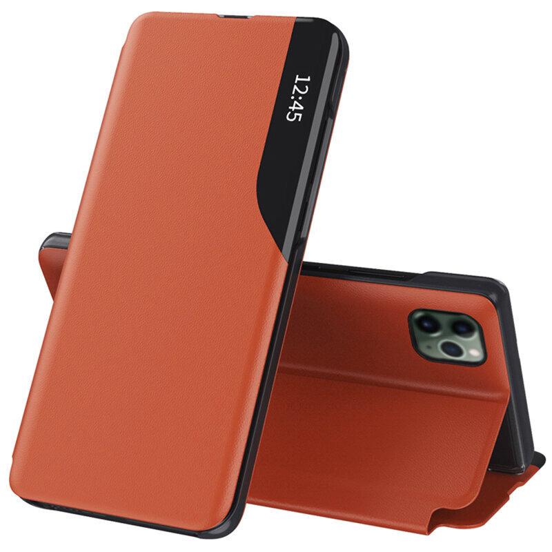 Husa iPhone 11 Pro Max Eco Leather View Flip Tip Carte - Portocaliu