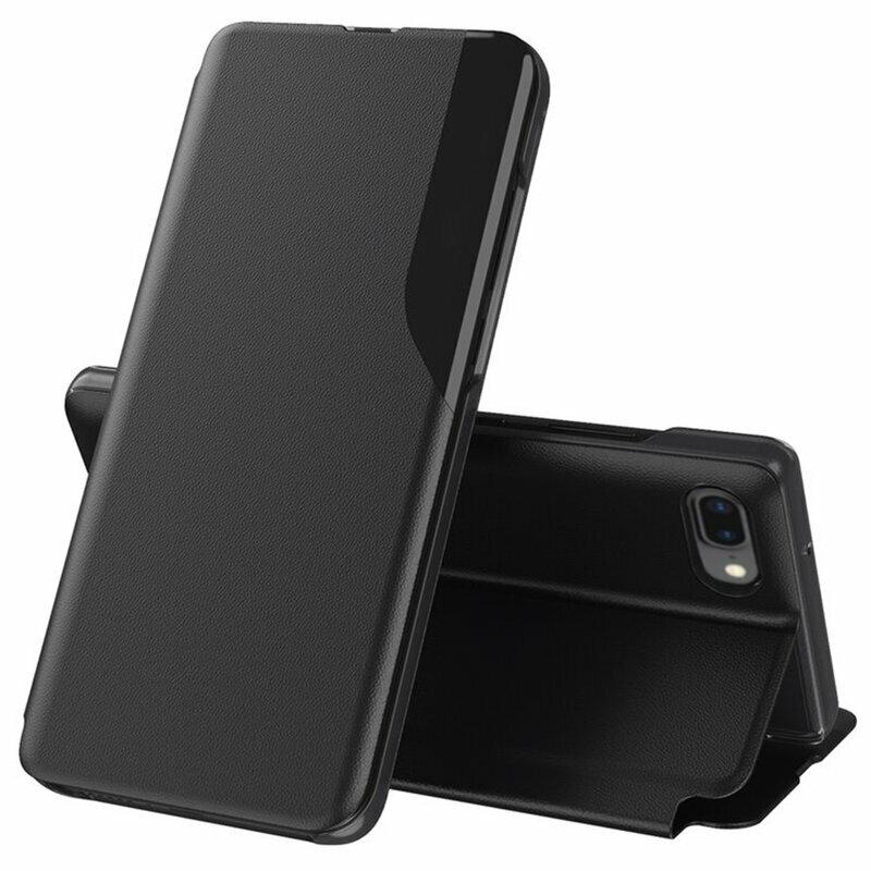 Husa iPhone 6 Plus / 6s Plus Eco Leather View Flip Tip Carte - Negru