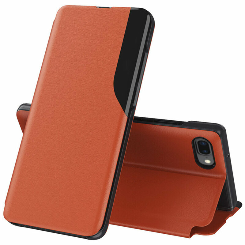 Husa iPhone 6 Plus / 6s Plus Eco Leather View Flip Tip Carte - Portocaliu