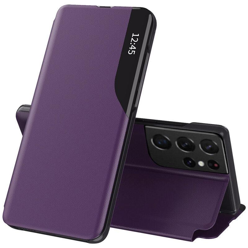 Husa Samsung Galaxy S21 Ultra 5G Eco Leather View Flip Tip Carte - Mov