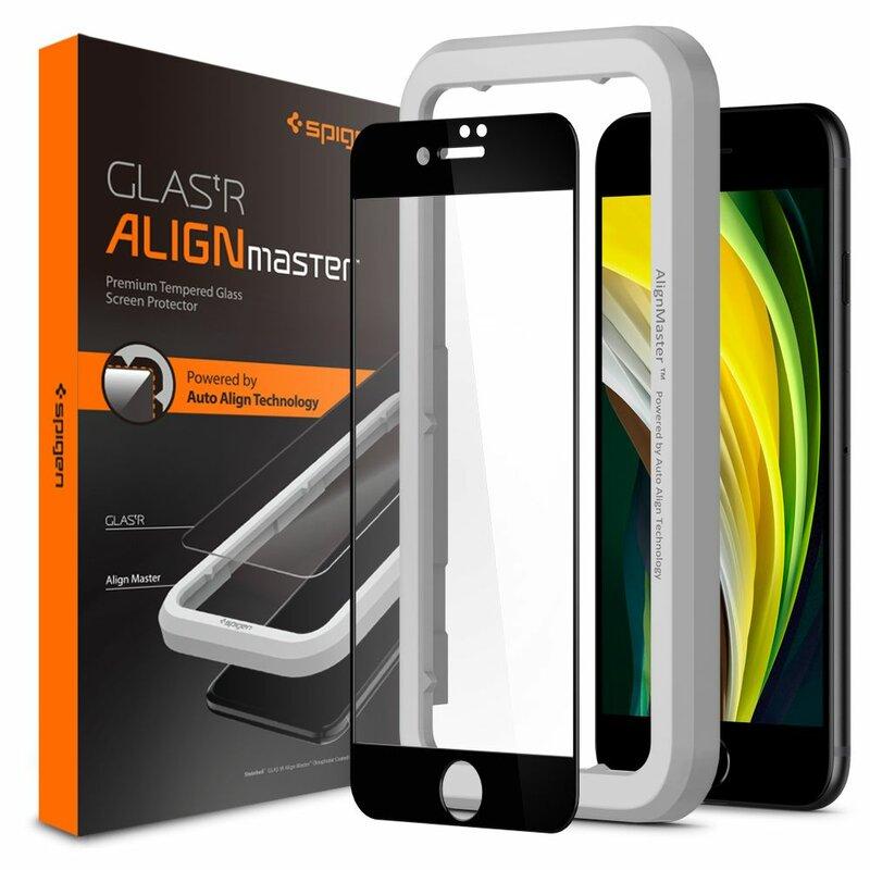 Folie Sticla iPhone 8 Spigen Glas.t R Align Master - Black