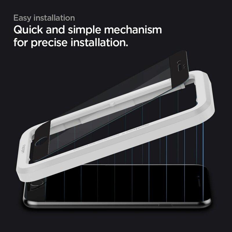 Folie Sticla iPhone SE 2, SE 2020 Spigen Glas.t R Align Master - Black