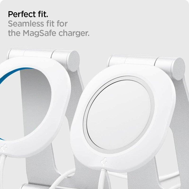 Suport birou incarcator MagSafe iPhone 12 Spigen MagFit S, alb