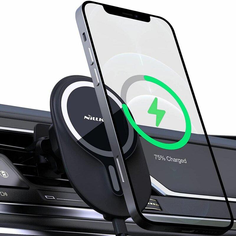 Suport auto MagSafe, incarcator wireless iPhone 12 Nillkin, negru