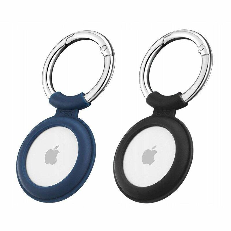 [Pachet 2x] Husa Apple AirTag Loop ESR Cloud tip breloc chei, negru/ albastru