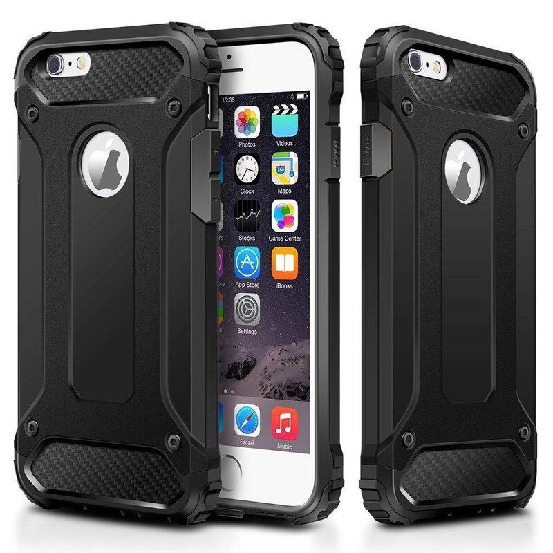 Husa iPhone 6 Plus,6S Plus Mobster Hybrid Armor Cu Decupaj Sigla - Negru