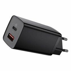 Incarcator priza Baseus USB QC3.0 + Type-C PD65W, negru, CCGAN2L-B01