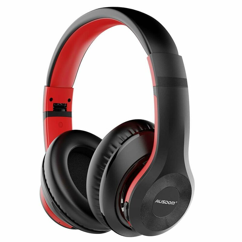 Casti wireless on-ear Ausdom ANC10, active noise cancelling, rosu