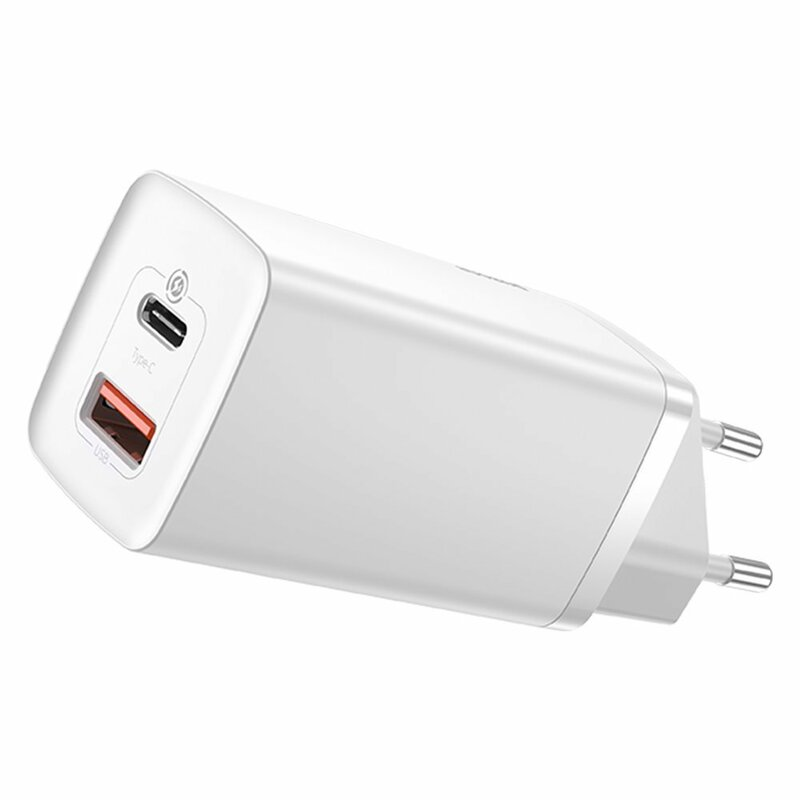Incarcator priza Baseus USB QC3.0 + Type-C PD65W, alb, CCGAN2L-B02
