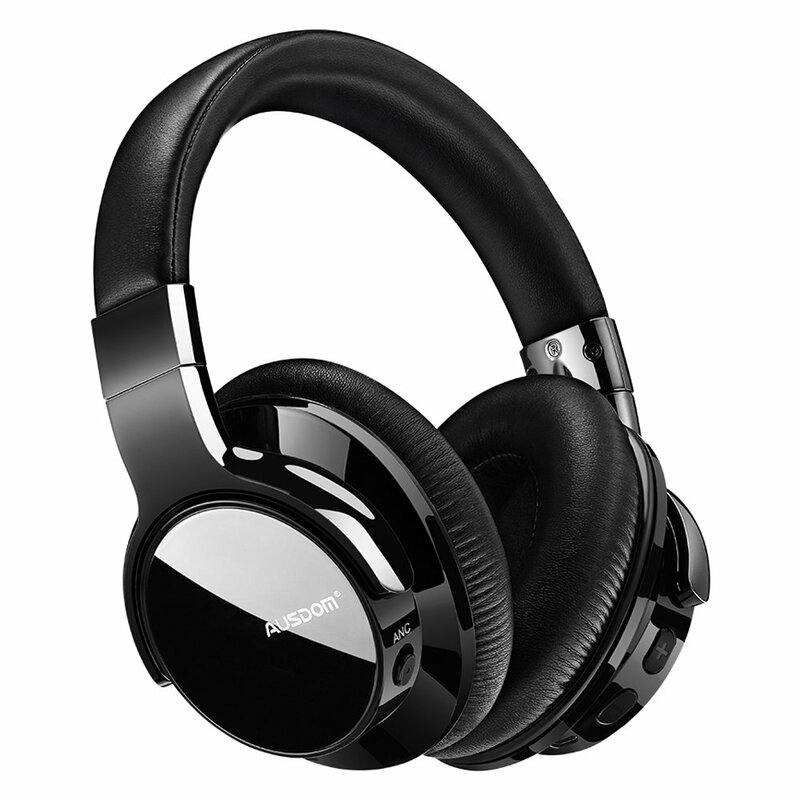 Casti wireless over-ear Ausdom ANC8, active noise cancelling, negru