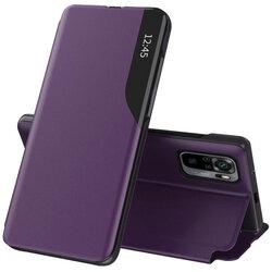 Husa Xiaomi Redmi Note 10 Eco Leather View Flip Tip Carte - Mov