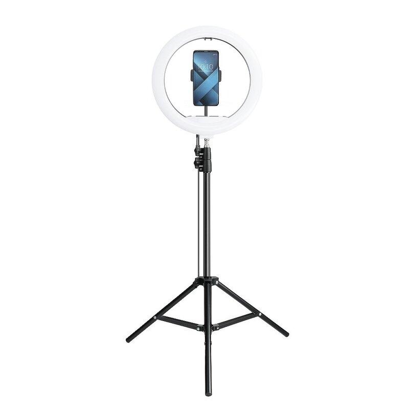 Lampa circulara LED ring light telefon cu lumina alba + trepied