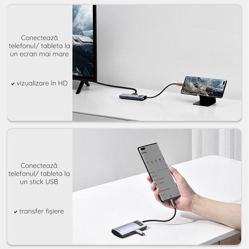 Hub USB-C Baseus la HDMI, Type-C, 2x USB, 100W, gri, CAHUB-CY0G