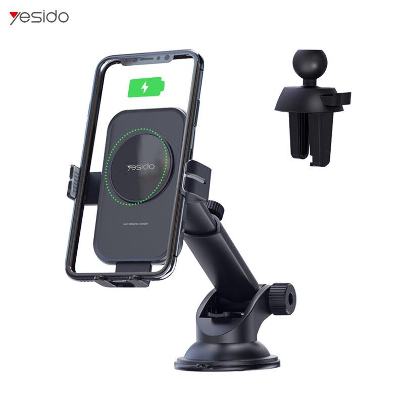 Suport telefon auto Yesido C118, incarcator wireless 15W, negru