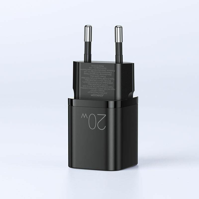 Incarcator priza JoyRoom Type-C PD20W + USB QC3.0, negru, L-QP207