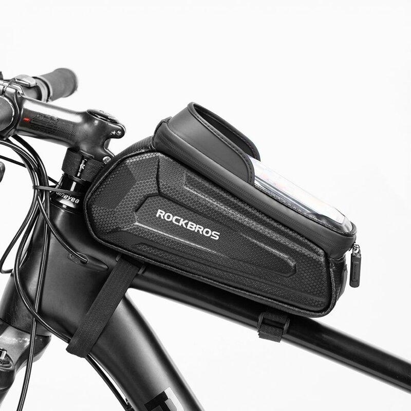 Geanta cadru bicicleta RockBros, suport telefon, impermeabila, negru