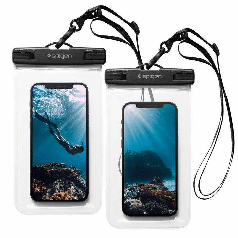 [Pachet 2x] Husa subacvatica telefon Spigen, waterproof IPX8, clear, A601
