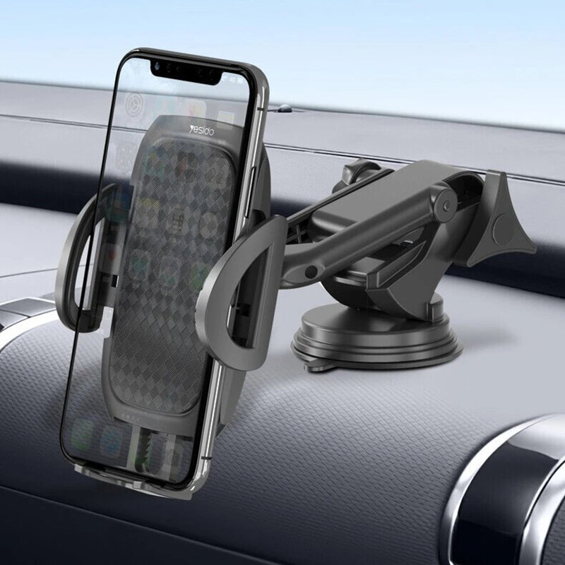 Suport telefon auto Yesido C111, extensibil cu ventuza, negru