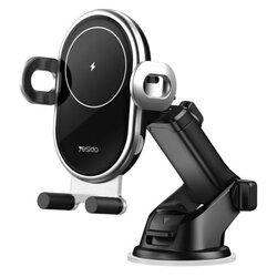 Suport telefon auto Yesido C102, incarcator wireless 10W, negru