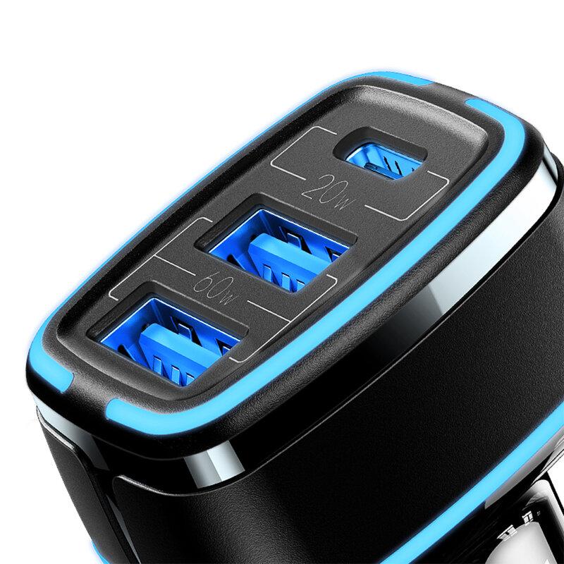 Incarcator auto USAMS Type-C + 2x USB, 80W, negru, US-CC126