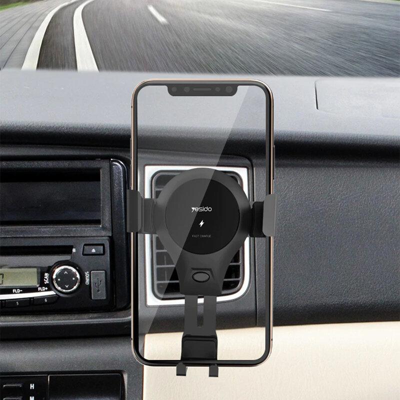 Suport telefon auto Yesido C45, incarcator wireless, 10W, negru