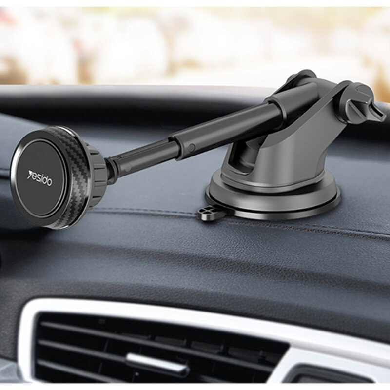 Suport telefon auto magnet Yesido C67 cu brat telescopic, negru