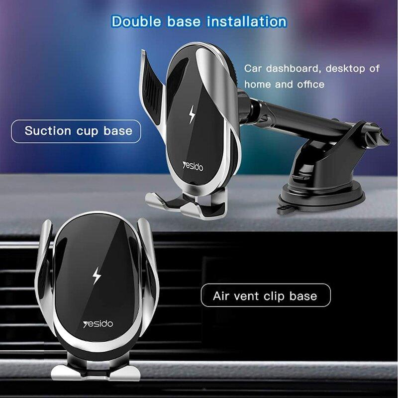 Suport telefon auto Yesido C78 cu incarcare wireless, 15W, negru