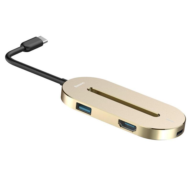 Hub USB-C Baseus la 3x USB, Type-C, HDMI, auriu, CABOOK-0V