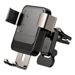 Suport telefon auto JoyRoom, incarcator wireless, grila, negru, JR-ZS220