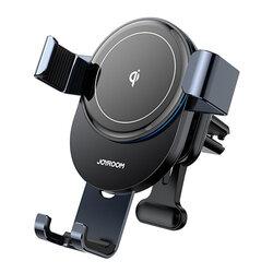 Suport telefon auto JoyRoom, incarcator wireless, grila, negru, JR-ZS212