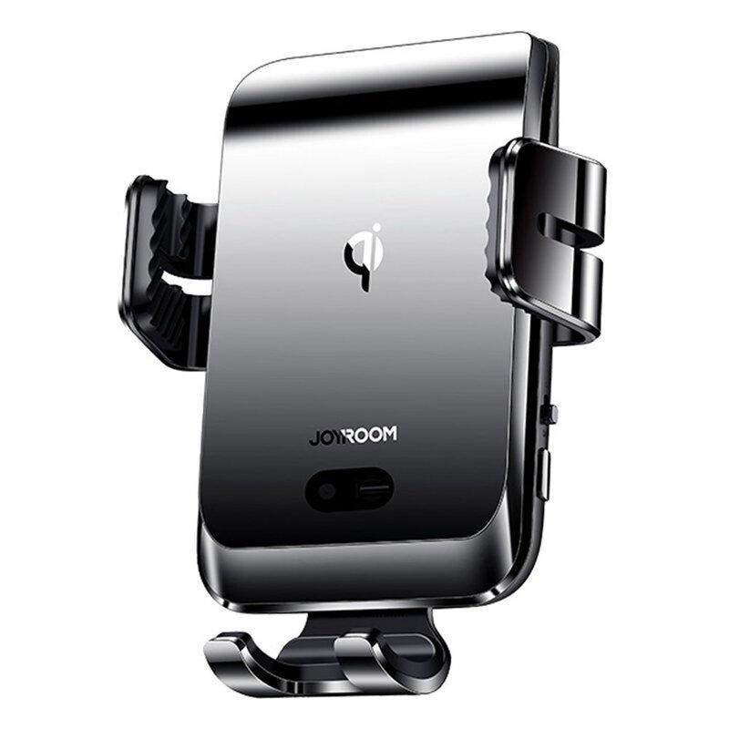 Suport telefon auto JoyRoom, incarcator wireless, grila, negru, JR-ZS214